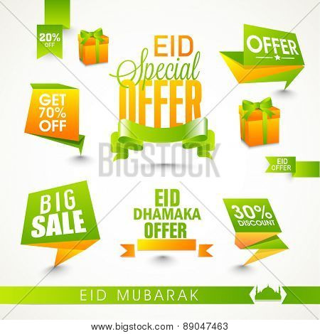 Shiny Sale tags or ribbons on occasion of Islamic festival, Eid celebration on white background.