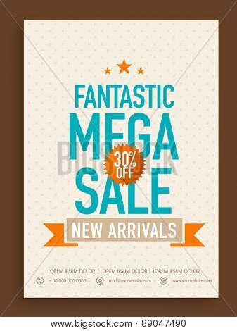Fantastic Mega Sale poster, banner or flyer design with 30% discount offer on new arrivals.