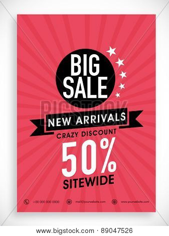 Stylish Big Sale poster, banner or flyer design with discount offer on new arrivals.