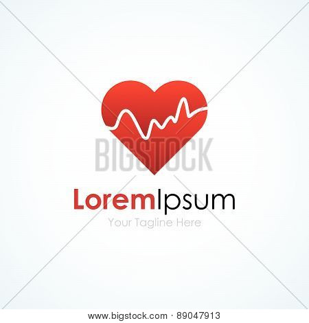 Heart shape beat pulse simple business icon logo