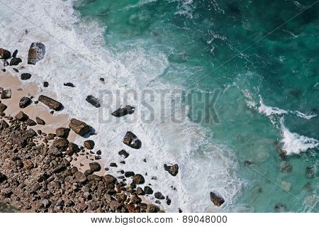 Aerial view of a rocky beach and waves, South Africa