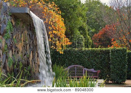 Zen Garden With Waterfall In Autumn