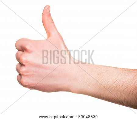 male hand showing thumbs up