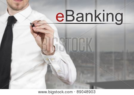 Businessman Writing Ebanking In The Air