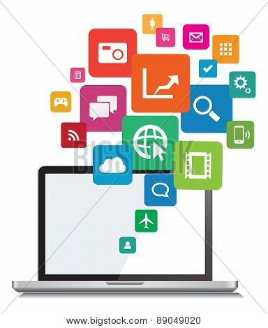 Laptop App Cloud Network Vector Design