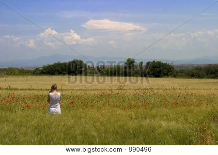 A Girl In A Field On The Appian Way