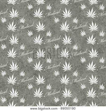 Gray And White Medical Marijuana Tile Pattern Repeat Background