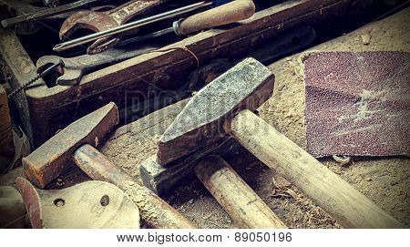 Old rusty woodworking tools.