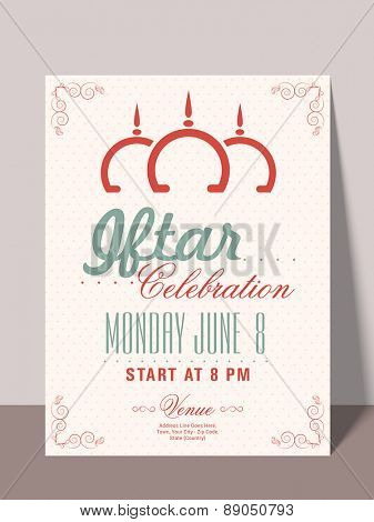 Beautiful invitation card with mosque, time, date and place details for holy month of muslim community, Ramadan Kareem Iftar party celebration.