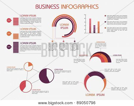 Business infographics template decorated with different graphs for data presentation.