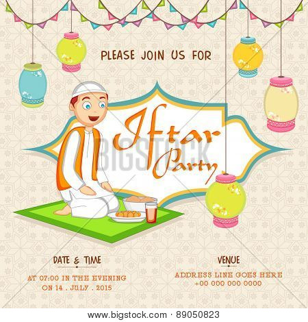Islamic holy month of prayers, Ramadan Kareem Iftar Party celebration invitation card decorated with hanging Arabic lamps and illustration of a cute little Muslim boy on seamless background.