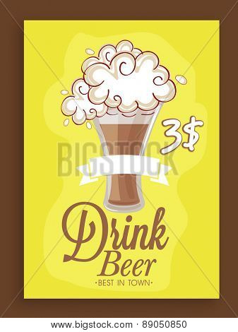 Stylish menu card design in yellow color for club, pub and beer bar.