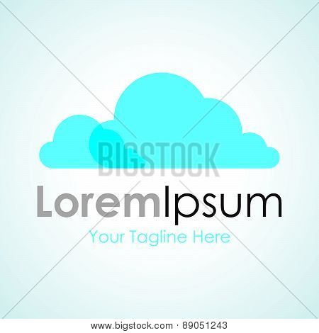 Blue nature system cloud simple business icon logo