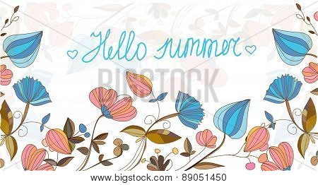 summer background with blooming flowers lettering Hello summer