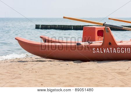 ROSOLINA MARE - MAY 28: Lifeboat on the beach May 28, 2012 in Rosolina Mare, Italy