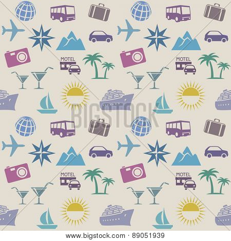 Seamless wallpaper pattern with travel icons. Vector illustration
