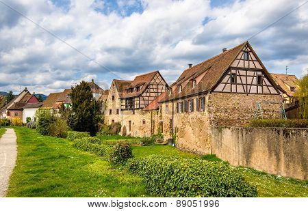 Traditional Half-timbered Houses In Bergheim - Alsace, France