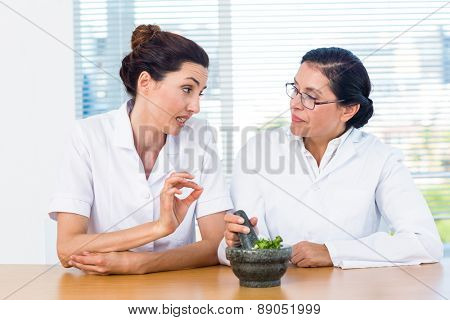 Scientists mixing herbs with pestle and mortar in laboratory