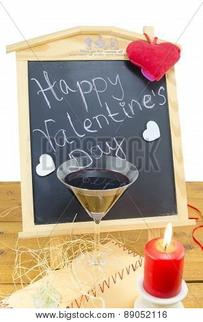 Blackboard With Hearts And And A Wine Glass
