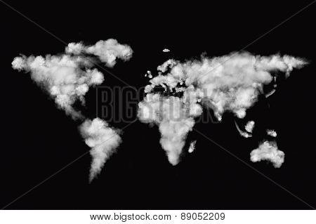 world map made of white puffy clouds isolated on black background