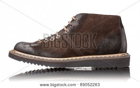 brown male leather boots isolated on white background
