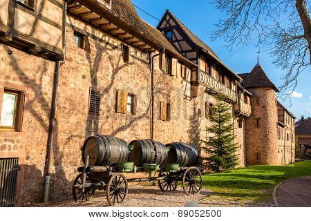 Cart With Barrels At Riquewihr - Alsace, France