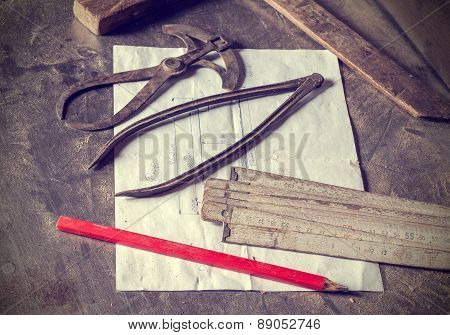 Old Traditional Carpentry Tools.