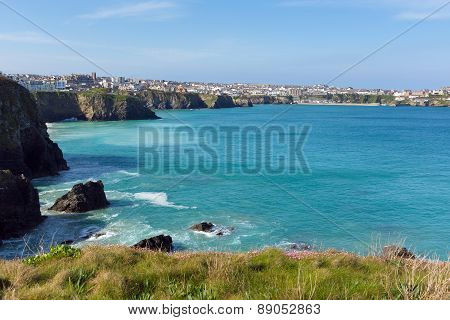Newquay coastal view to harbour North Cornwall UK beautiful Cornish coast in spring