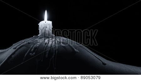 Body Scape Of Woman With Burning Candle And On Her Buttock Artistic Conversion