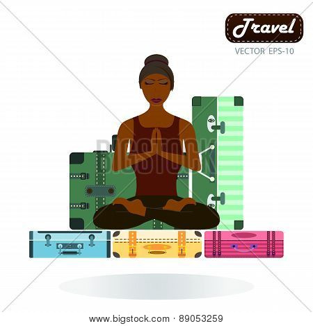 Happy Tourist Woman In The Lotus Posture On Suitcase . Isolated Over White Background.