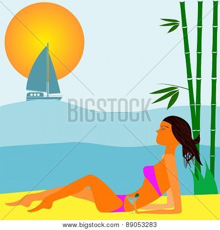 Girl With Cocktail Sitting On The Beach
