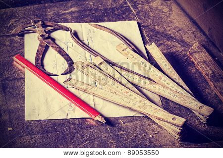 Old Traditional Carpenter Tools.