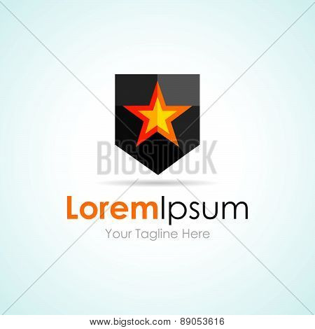 Star Black shape power shield simple business icon logo