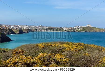 Newquay coast North Cornwall UK beautiful Cornish coast in spring with blue sky and sea