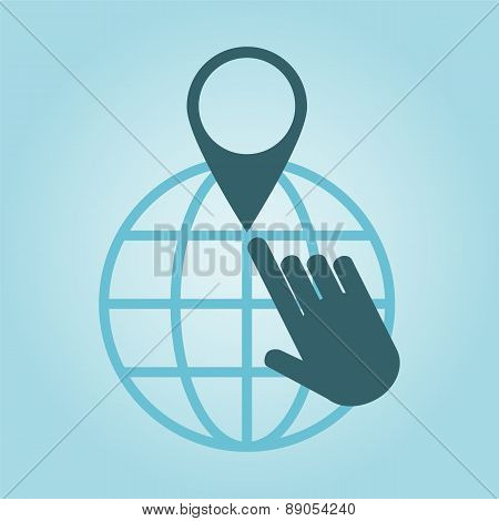 Thin Line Icon With Flat Design Element Of Global Positioning System, Pin Destination, Point On Map,