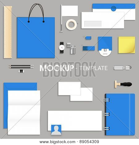 Blank corporate identity kit or mock up for your business including Letterhead, File Folder, Envelope, Visiting Cards, CD, and Stationery items.