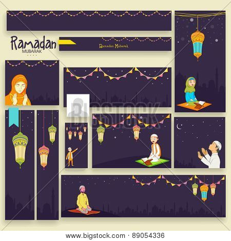 Social media ads, header or banner set for holy month of Muslim community Ramadan Kareem celebration.