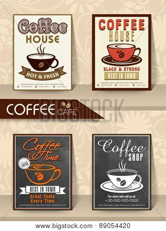 Stylish Menu Cards or Flyers set for hot and fresh Coffee on floral decorated background.