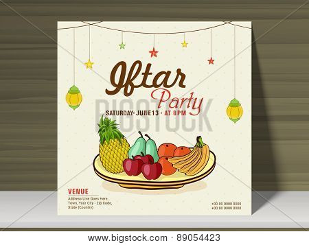 Holy month of muslim community, Ramadan Kareem Iftar party celebration invitation card on wooden background.