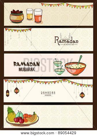 Creative website header or banner set for holy month of muslim community, Ramadan Kareem celebration.