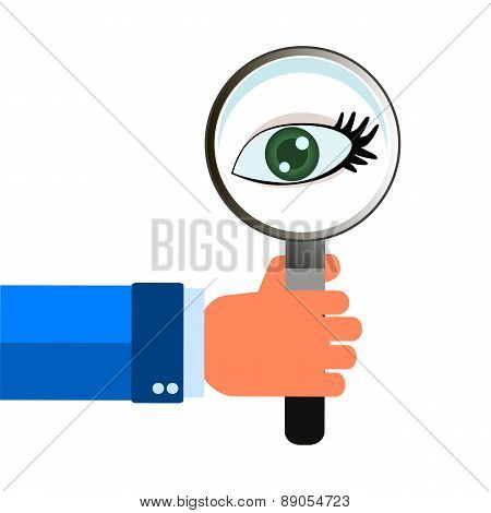 Magnifying Glass In Hand Eye, Ocular Diagnostics Symbol Design