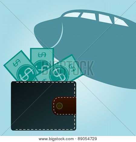 Wallet With Dollars On A Background Of An Airplane. Travel.