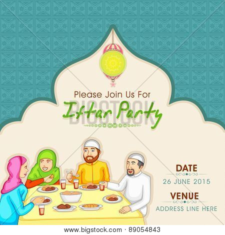 Holy month of Muslim community, Ramadan Kareem celebration invitation card with illustration of a Islamic family enjoying and celebrating Iftar Party.