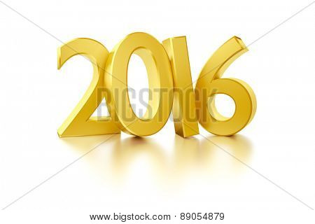 An image of the new year 2016 in gold