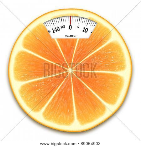 An image of an orange weight scales