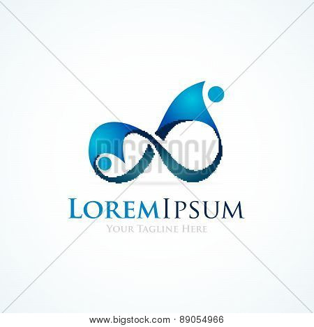 People souls connected in infinity symbol simple business icon logo