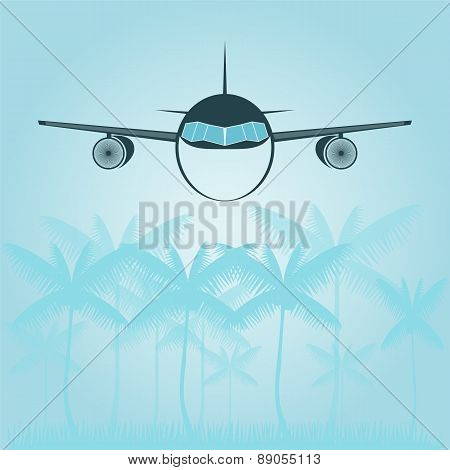 Background With Palm Trees And Airplane In The Sky