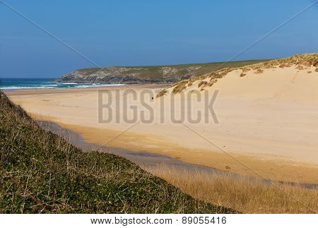 Holywell Bay sandy beach Cornwall England UK near Newquay and Crantock with blue sea and sky