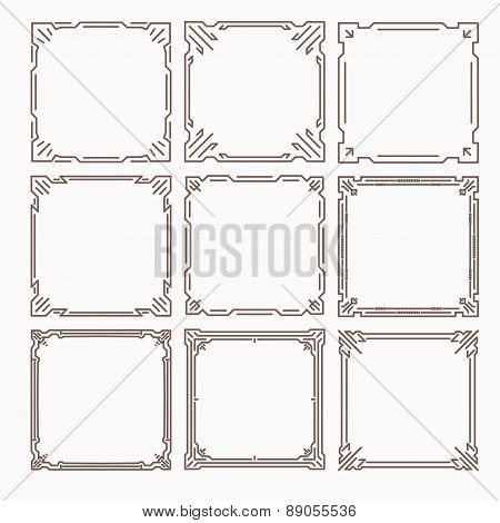 Set Of 9 Stylish Rich Decorated Square Decorative Frames In Mono Line Style With Rounded Corners