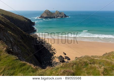Gull rocks Holywell Bay Cornwall England UK near Newquay and Crantock in spring with blue sea